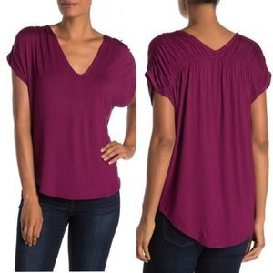 H by bordeaux Light Pink High Low Ruched NWOT Top